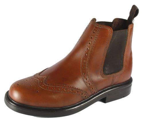 Oaktrak Appleby Junior Chestnut Brown Brogue Chelsea Boots
